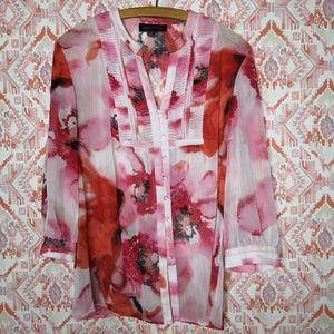 Jones New York Large Blouse Career Floral Pink